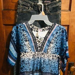 Set Of Girls boho Blouse & Skinny Jeans